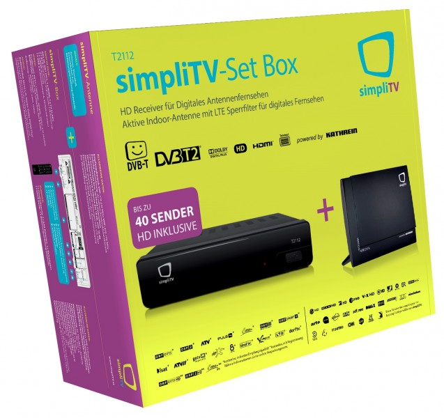 dvb t2 simplitv box t2112 integriertes irdeto kathrein simplitv antenne ebay. Black Bedroom Furniture Sets. Home Design Ideas